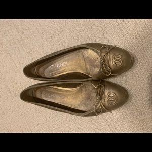 Gold Chanel ballet flats
